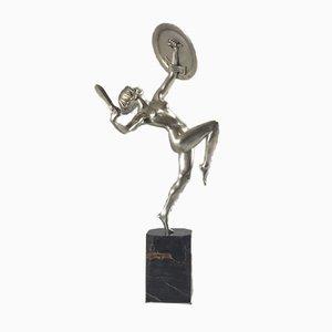 Escultura de guerrero Art Déco de bronce de Pierre Le Faguays, años 20