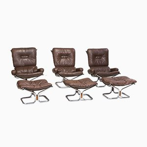 Chrome, Leather, and Rosewood Lounge Chairs and Ottoman Set by Ingmar Relling for Westnofa, 1960s