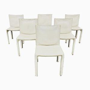 Chaises de Salle à Manger Modèle 412 en Cuir Blanc par Mario Bellini pour Cassina, années 90, Set de 6