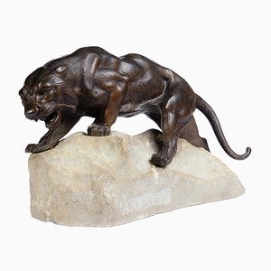 Bronze Tiger on a Rock Sculpture by James Andrey, 1920s