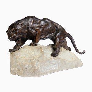 Tiger Skulptur aus Bronze auf einem Felsen von James Andrey, 1920er