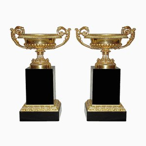 19th Century Gilded Bronze and Carved Vases, Set of 2