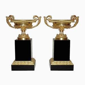 Geschlachtete Vasen aus vergoldeter Bronze, 19. Jh., 2er Set