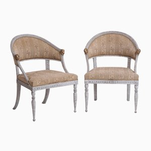 Antique Swedish Gilt and Carved Armchairs, 1830s, Set of 2