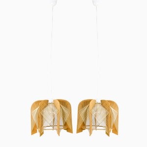 Scandinavian Raffia and Wood Ceiling Lamps, 1970s, Set of 2