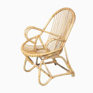 Dutch Rattan Lounge Chair, 1960s