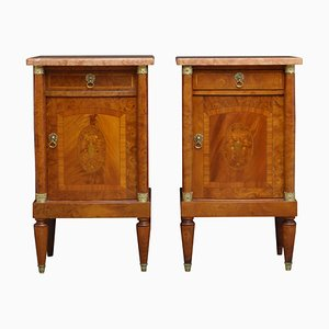 Antique Mahogany and Amboyna Nightstands, Set of 2
