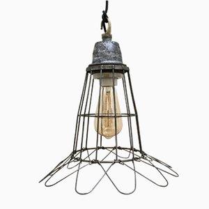Lampe à Suspension Grille en Fer et Aluminium, années 70
