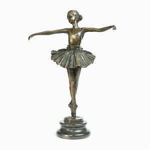 Antique Bronze Ballerina Sculpture by J B Deposee Garanti, 1910s