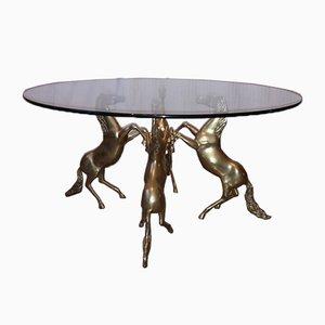 Table Basse Sculpturale Vintage en Laiton et Verre, années 70