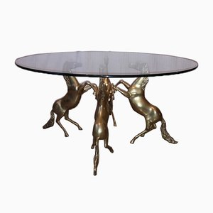 Vintage Brass and Glass Sculptural Coffee Table, 1970s