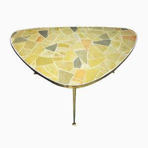 Mesa de centro de latón y mosaico, años 50