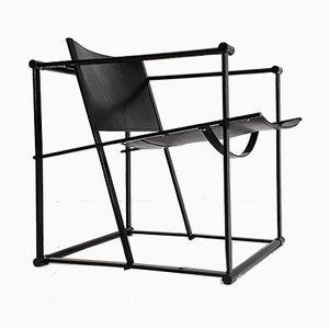 Steel and Leather Model FM62 Armchair by Radboud Van Beekum for Pastoe, 1980s