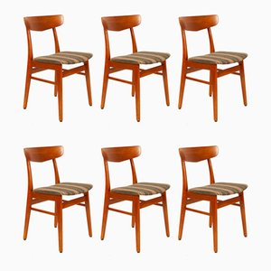 Vintage Danish Teak Dining Chairs, 1960s, Set of 6