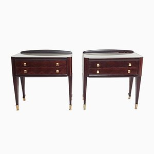 Mid-Century Italian Mahogany and Brass Rosewood Nightstands, 1950s, Set of 2
