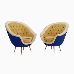 Mid-Century Italian Brass Armchairs from ISA Bergamo, 1950s, Set of 2
