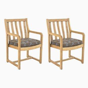 Eichenholz Armlehnstühle, 1950er, 2er Set