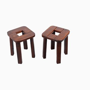 Solid Pinewood Stools by Lisa Johansson Pape for Stockman, 1960s, Set of 2