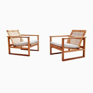 Danish Oak and Cane Model 2256 Sled Armchairs by Børge Mogensen for Fredericia, 1950s, Set of 2