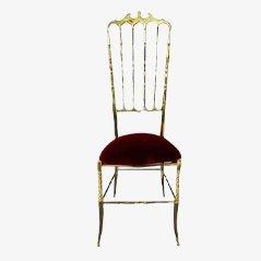 Mid Century Brass & Velvet Chiavari Chair