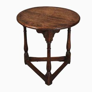 Antique Solid Oak Cricket Table, 1780s