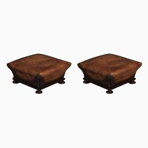 Antique Regency Rosewood and Leather Footstools, Set of 2