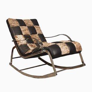 Rocking-chair Vintage en Chrome et en Cuir