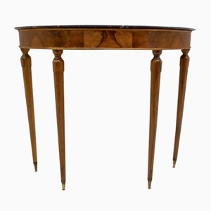Mid-Century Walnut and Marble Console Table, 1950s