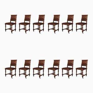Antike französische Esszimmerstühle aus Nussholz mit geprägtem Leder, 12er Set