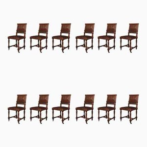 Antique French Walnut and Embossed Leather Dining Chairs, Set of 12