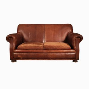 Vintage French Brown Leather Sofa, 1920s