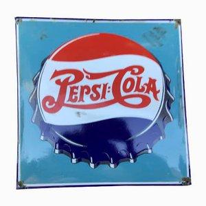 Mid-Century Emaille Werbeschild von Pepsi