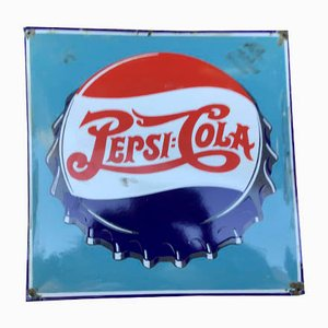 Mid-Century Enamel Advertising Sign from Pepsi