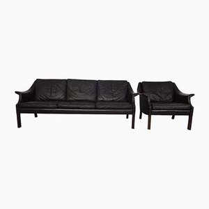 Mid-Century Danish Leather 3-Seater Sofa and Armchair Set by Aage Christiansen for Erhardsen & Andersen, 1960s