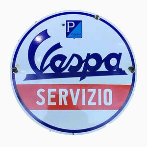 Werbeschild aus Emaille von Vespa, 1950er