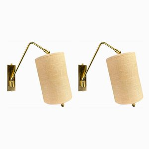 Minimalistische Messing Wandlampen, 1970er, 2er Set