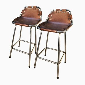 Leather Stools by Charlotte Perriand for Cassina, 1960s, Set of 2