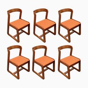 Italienische Mid-Century Esszimmerstühle aus Holz von Willy Rizzo für Mario Sabot, 1970er, 6er Set
