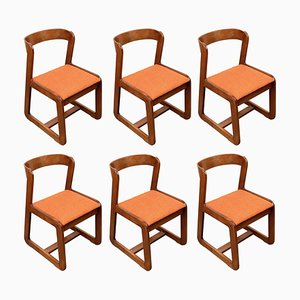 Mid-Century Italian Wooden Dining Chairs by Willy Rizzo for Mario Sabot, 1970s, Set of 6
