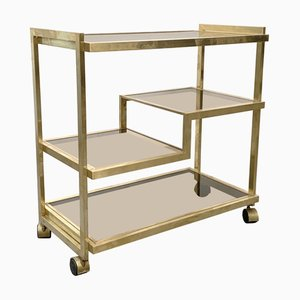 Mid-Century Italian Brass and Smoked Glass Trolley, 1970s
