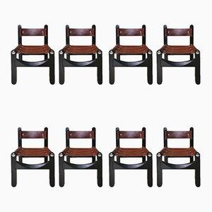 Leder Esszimmerstühle, 1960er, 8er Set