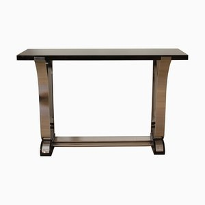 Art Deco Style Black Lacquer and Curved Stainless Steel Console Table