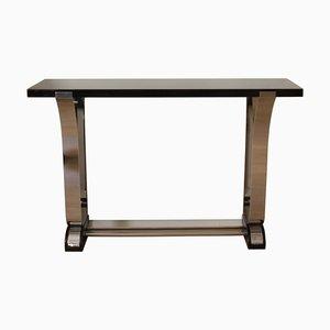 Table Console Style Art Déco en Laque Noire et Inox