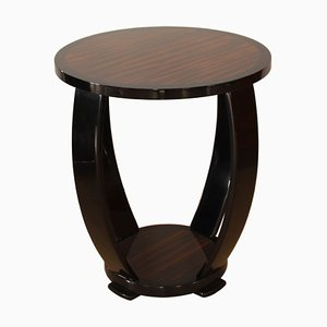 Art Deco Style Macassar and Black Lacquer Side Table