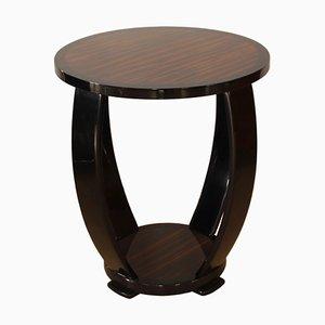Table d'Appoint Style Art Déco en Macassar et Laque Noire