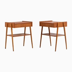 Mid-Century Swedish Teak Nightstands from Carlström & Co Möbelfabrik, Set of 2