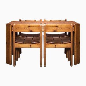 Juego de mesa y sillas de comedor Mid-Century de madera de pino, años 70