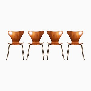 Mid-Century Teak Modell 3107 Esszimmerstühle von Arne Jacobsen für Fritz Hansen, 1960er, 4er Set