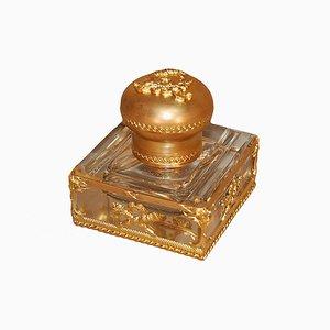 Tintero antiguo de bronce dorado y cristal tallado