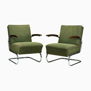 Chrome Plated Tubular Steel Model S411 Armchairs from Thonet, 1930s, Set of 2